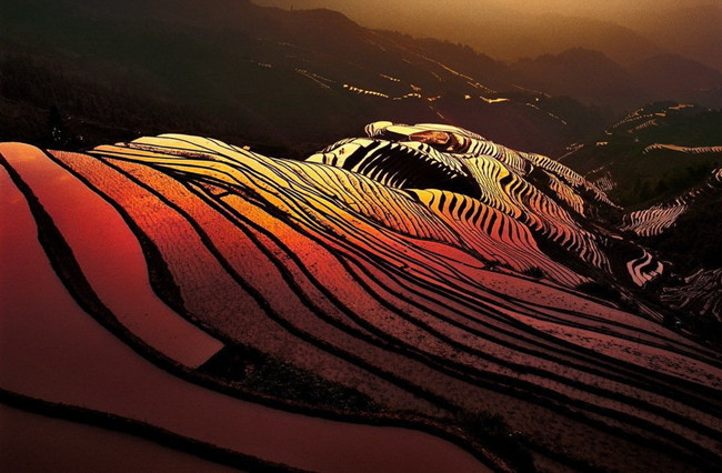 Magnificent Sunset of Bada Rice Terraces