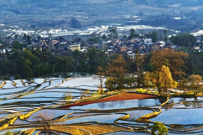 Qingkou Hani Rice Terraces in Yuanyang County, Honghe