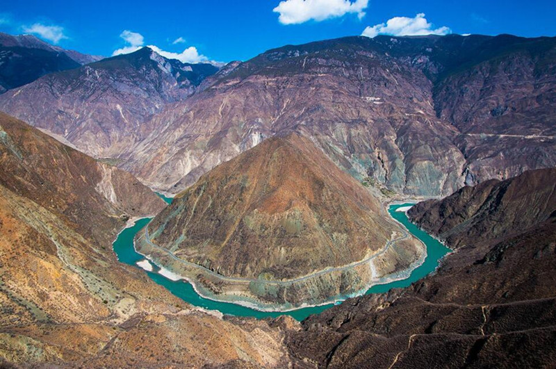 The Moon-shaped Bend of Jinsha River in Deqin County, Diqing