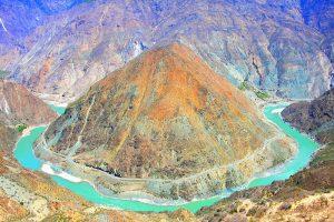 The Moon-shaped Bend of Jinsha River in Deqin County, Diqing