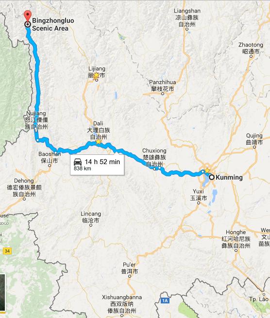 Kunming – Bingzhongluo Transportation: By Plane & Bus