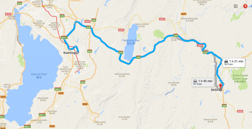The-Tour-Route-from-Kunming-to-Shilin