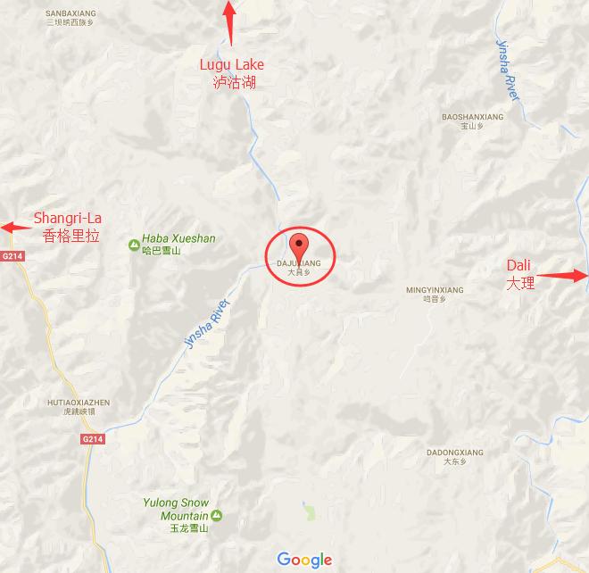 Region Map of Daju in Lijiang