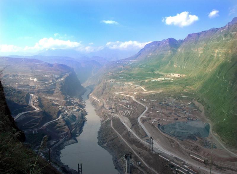 Xiluodu Hydropower Plant and Xiluodu Dam in Yongshan County, Zhaotong