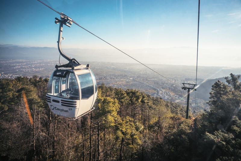 Gantong Cableway (Zhongsuodao) of Cangshan Mountain in Dali City
