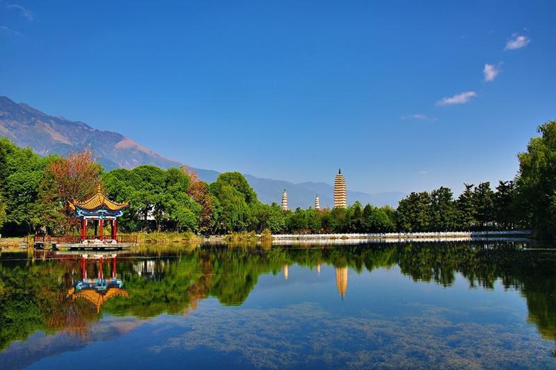 Reflection Park of Three Pagodas in Dali City