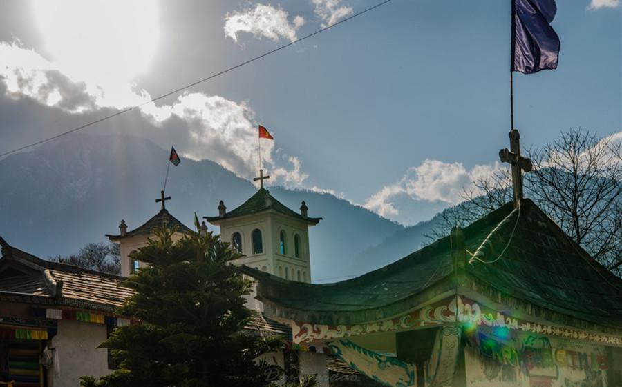 Zhongding Catholic Church in Bingzhongluo, Nujiang