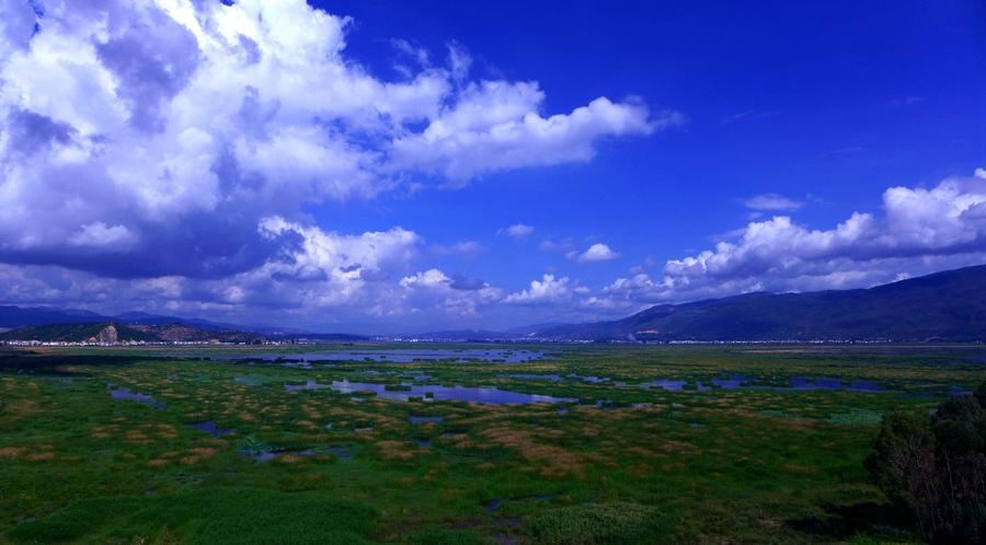 Yilong lake wetland park in Shiping County