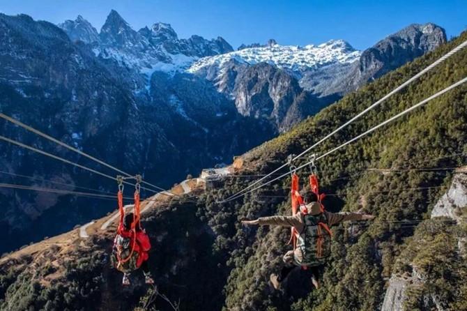 high-altitude zip line service in Shangri-la