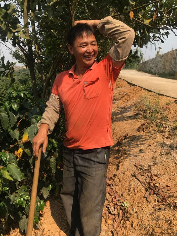 Zhao Jadong, a coffee farmer in Mangshi of Dehong, Yunnan province