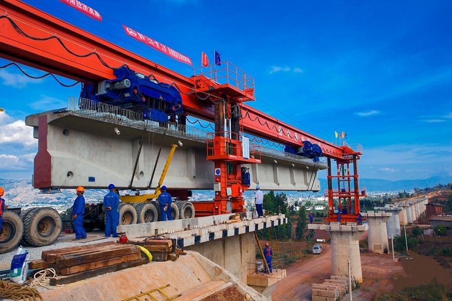 Girder erection begins on Dali-Lincang railway