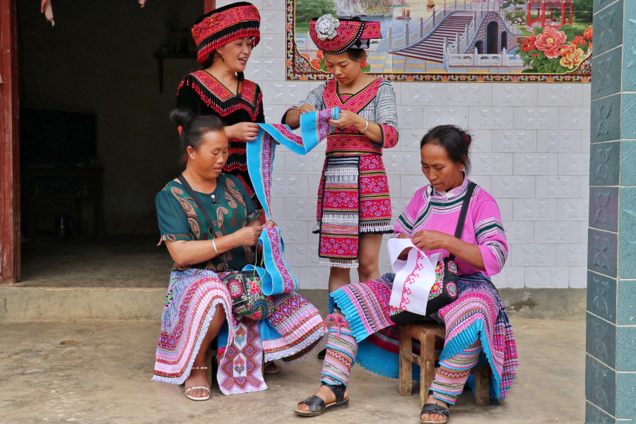 Local females of different ages are adept at embroidery
