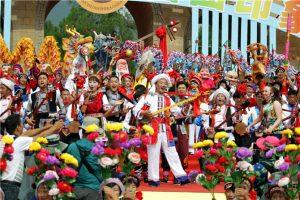The annual Jianchuan Shibaoshan Song Festival at ShibaoMountain of Jianchuan County in DaliPrefecture