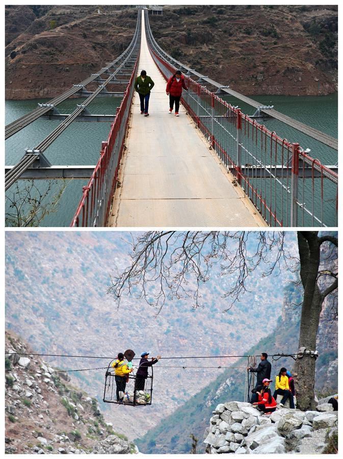 Combo photo shows villagers walking on a bridge (upper) on Dec. 11, 2019 and people of Huize using cableway (lower) on March 7, 2013
