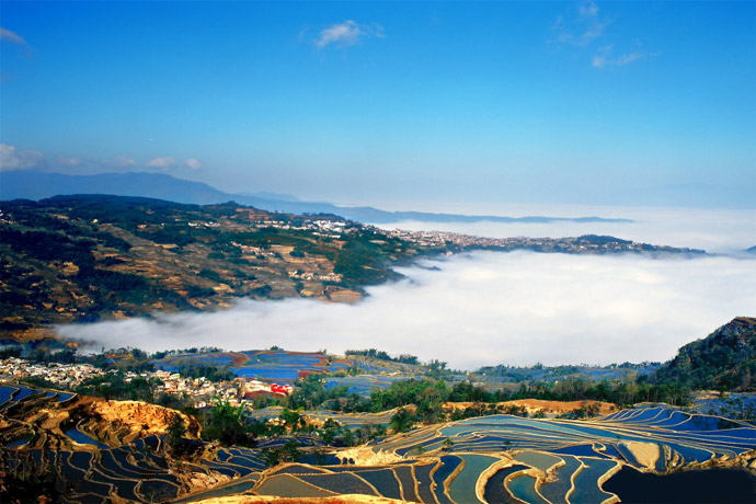 Tourist Attractions Map of Yuanyang County in Honghe